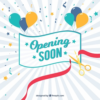Opening soon background with confetti and balloons