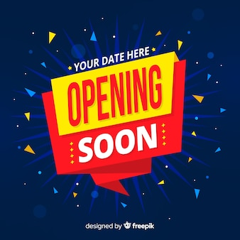 Opening soon background with confetti