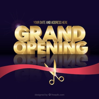 Opening soon background with golden letters