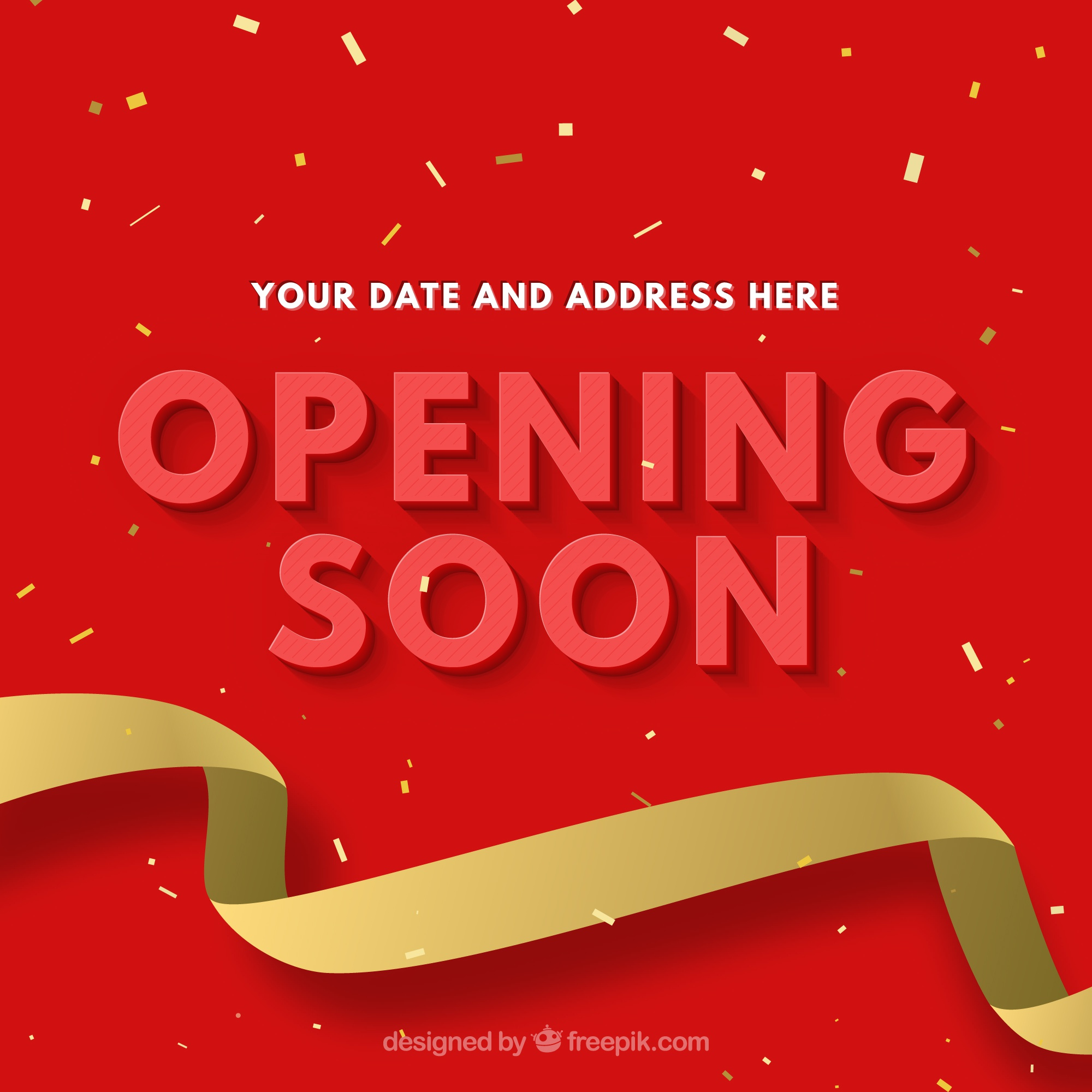 Opening soon background with golden ribbon