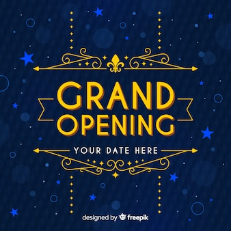 Opening soon background with ornaments