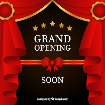 Opening soon background with red curtains