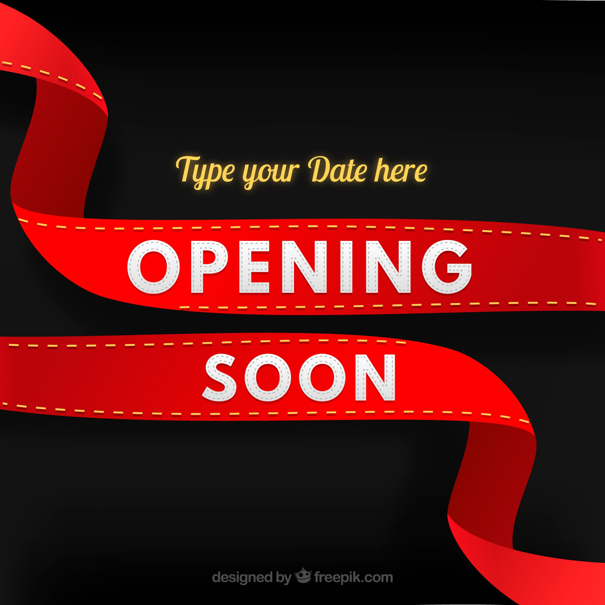 Opening soon background with red ribbon