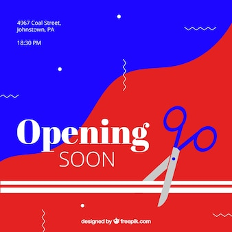 Opening soon background with scissor