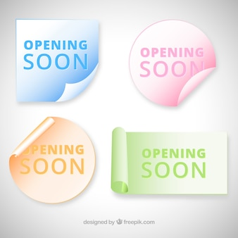 Opening soon background with stickers