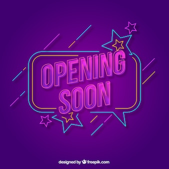 Opening soon background with typography neon style
