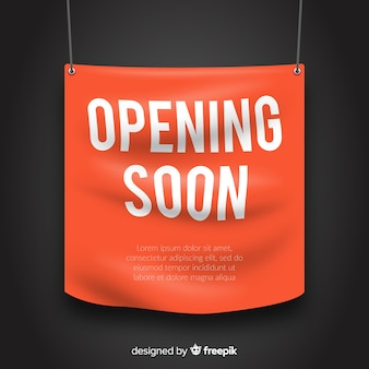 Opening soon banner in realistic style