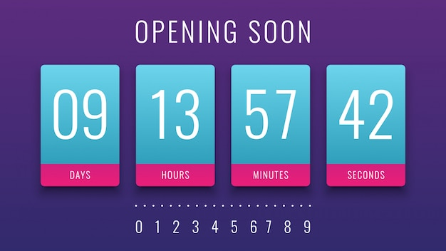 Opening soon illustration with countdown clock counter timer