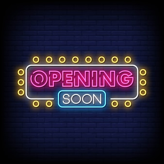 Opening soon neon sign style text vector