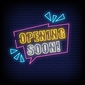 Opening soon neon signboard on brick wall