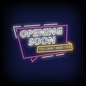 Opening soon neon signs style text vector