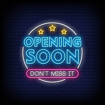 Opening soon neon signs style text