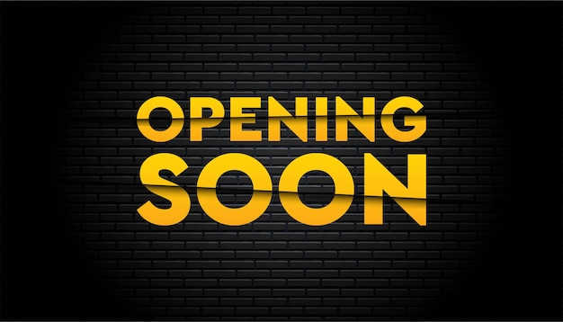 Opening soon with brick wall background template.