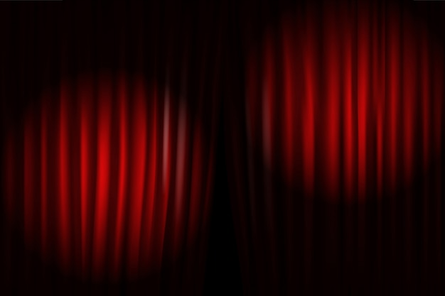 Opening stage curtains with bright projectors. vector illustration. standup show template