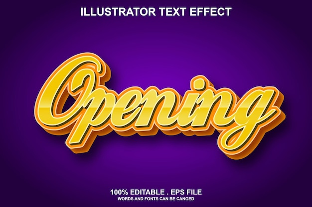 Opening text effect editable