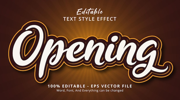 Opening text on modern brown style effect, editable text effect