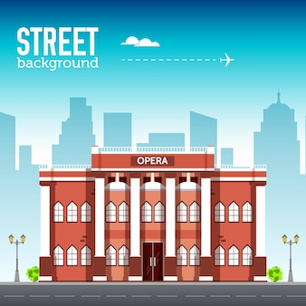 Здание оперы в городском пространстве с дорогой на концепции фона syle. иллюстрация