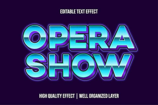 Opera show blue bold text effect style