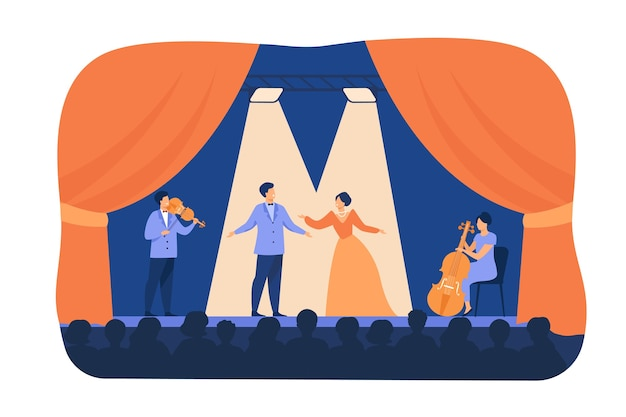 Opera singers playing on stage with musicians. theatre performers wearing costumes, standing under spotlights and singing before audience. flat cartoon illustration for drama, performance concept