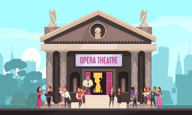 Opera theater building facade outdoor view with public on front entrance stairway cityscape  flat