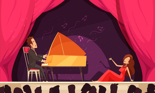 Opera theater flat cartoon horizontal composition with singer aria and pianist onstage performance audience heads silhouettes