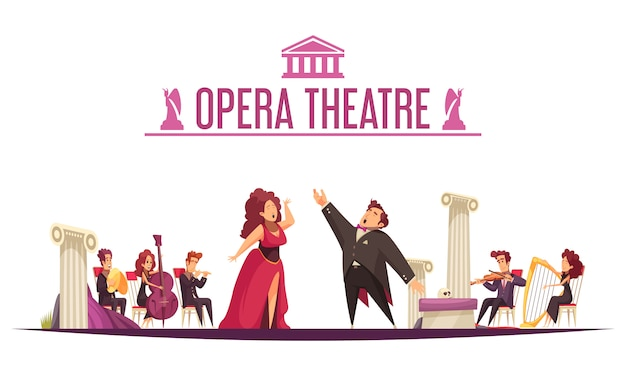 Opera theater premier announcement flat cartoon  with 2 singers aria performance and musicians onstage