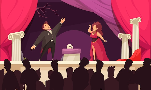 Opera theater scene flat cartoon  with 2 singers aria onstage performance and audience silhouettes