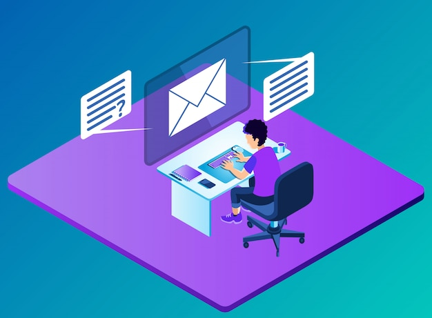 Operating computer for accessing questions and answers through email - isometric illustration