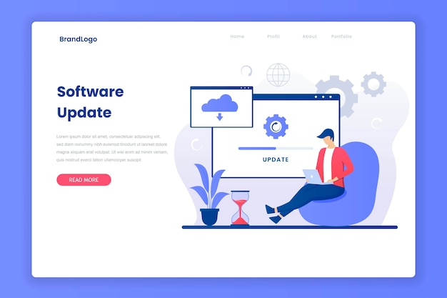 Operating software update landing page Premium Vector