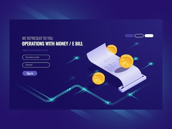 Operations with money, electronic bill, coin, chash transaction
