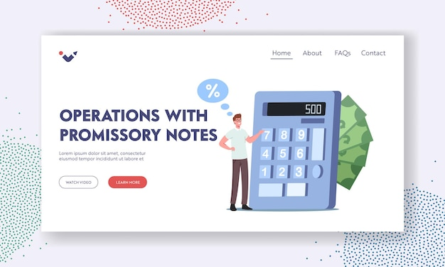 Operations with promissory notes landing page template. tiny male character counting budget on huge calculator. loan agreement, debt return promise, loan or credit. cartoon people vector illustration