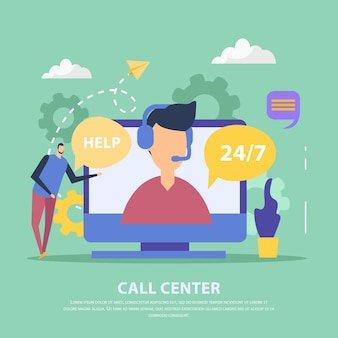 Operator of call center for client support in headset