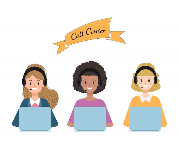 Operator of call center and customer service character.