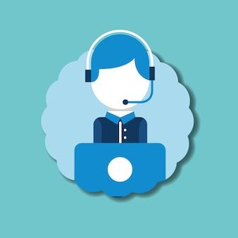 Operator headset microphone laptop emblem customer service