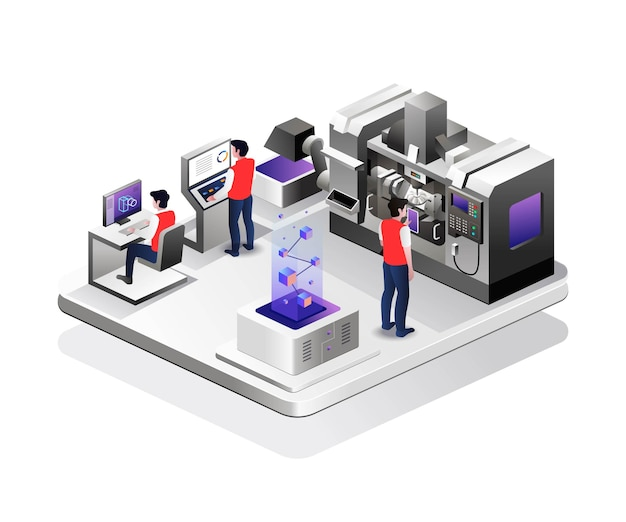 Operator is controlling the cnc machine in isometric desig