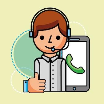 Operator smartphone hand like customer service