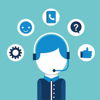 Operator with headset call center customer service