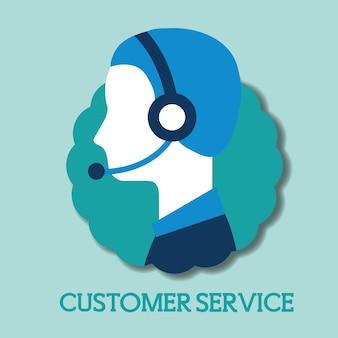 ヘッドセット、顧客サービス、ベクトル、イラスト