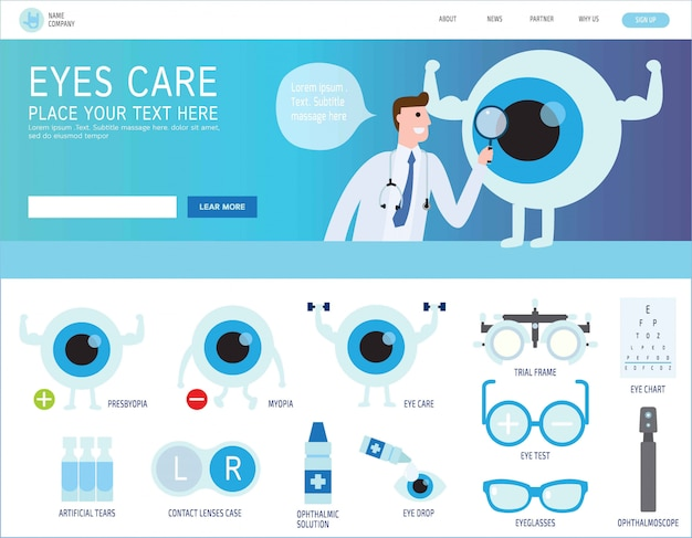 Ophthalmic landing page
