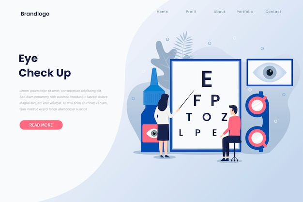 Ophthalmologist check up illustration landing page..