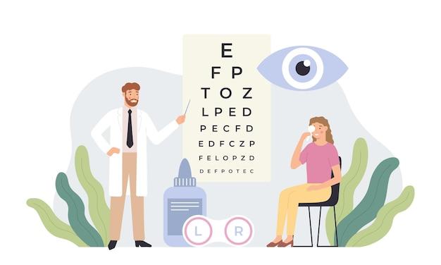 Офтальмолог проверяет зрение. тест на здоровье глаз, офтальмологическая диагностика и профессиональные офтальмологи в белых халатах векторная иллюстрация. окулист делает осмотр зрения