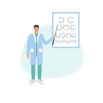 Ophthalmologist checks the vision using a table for eye tests. the patient is being treated by an optometrist. glasses and good eyesight. vector flat cartoon illustration of medicine and healthcare.