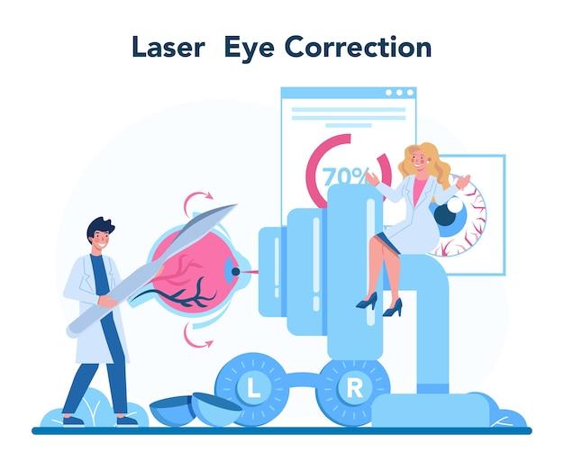 Иллюстрация концепции офтальмолога в мультяшном стиле