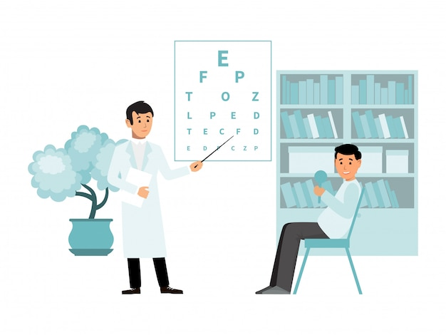 Ophthalmologist doctor appointment, plate vision test isolated on white,   illustration.