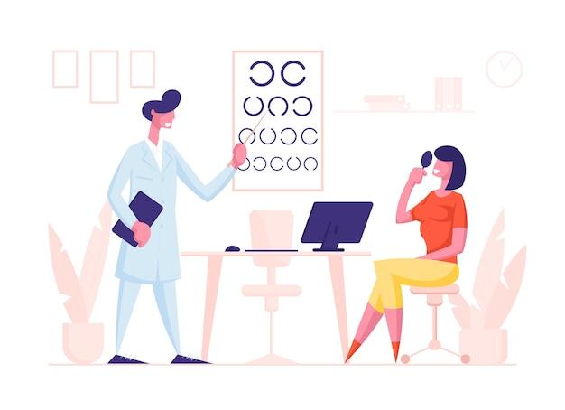 Офтальмолог доктор персонаж проверяет зрение на диоптрийность очков женщине