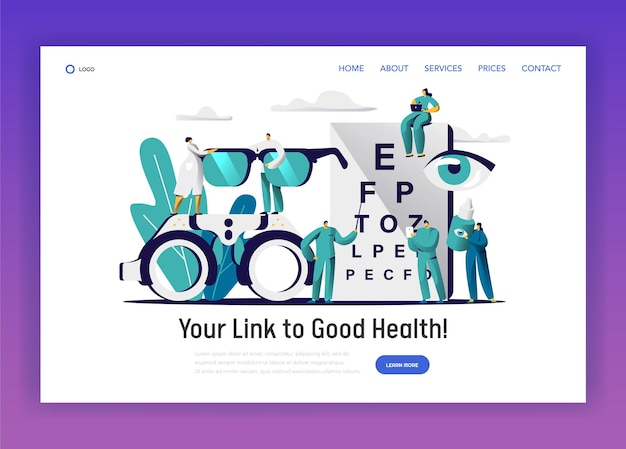 Ophthalmologist doctor check eye health landing page.