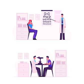Ophthalmologist doctor check eyesight for eyeglasses diopter. cartoon flat  illustration