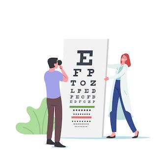 眼科医の医師は視力矯正のために患者の視力をチェックします。眼科医キャラクター実施アイチェック、試験