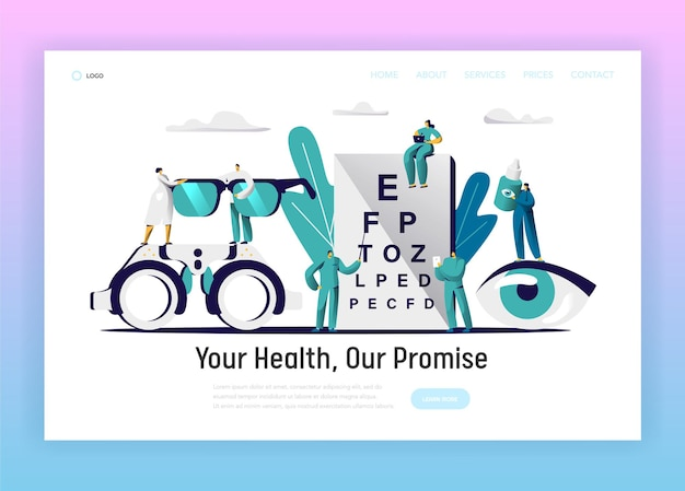 Ophthalmologist doctor test eyesight landing page.