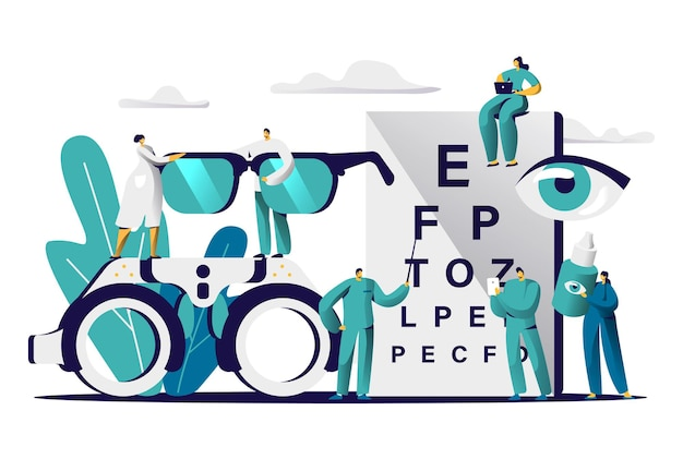 Ophthalmologist doctor test myopia eye. male oculist with pointer checkup optometry for eyeglasses.